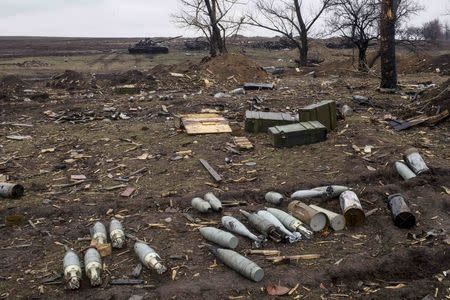 Ammunition at a field in the town of Debaltseve, north-east from Donetsk, March 13, 2015. REUTERS/Marko Djurica