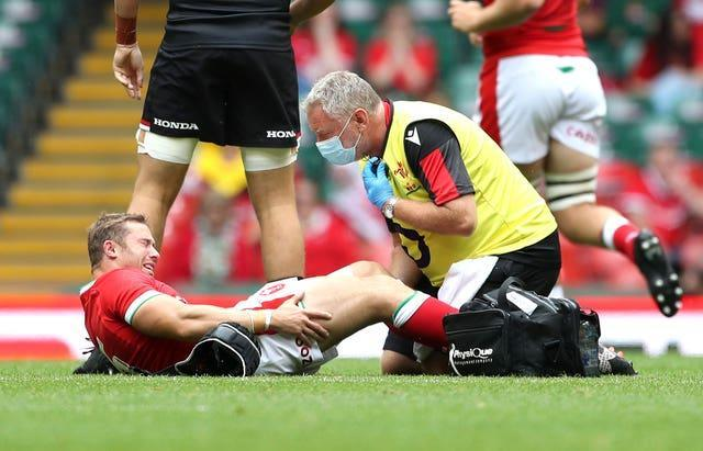 Leigh Halfpenny receives treatment for an injury