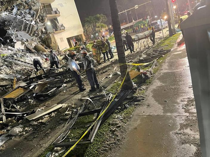 Miami Beach state Sen. Jason Pizzo was at the scene early Friday morning, where he watched as tactical teams of six worked to pull bodies from the rubble.