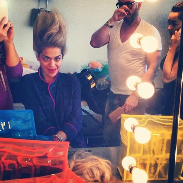 "Celebrity Twitpics: Rita Ora tweeted this snap of herself pulling a silly face for the camera as she had her hair and makeup done ahead of a photoshoot. She tweeted it alongside the caption: ""Troll-in out at work Day #peoplelookinatmelikeimcraycray."" Copyright [Rita Ora]"