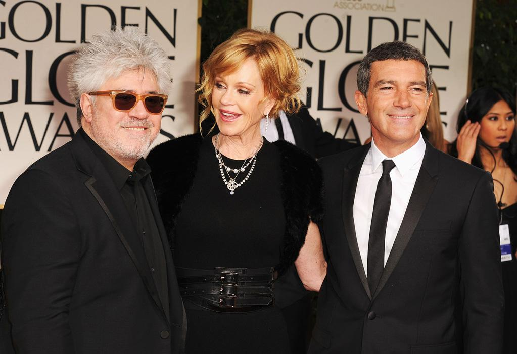 Pedro Almodovar, Melanie Griffith and Antonio Banderas arrive at the 69th Annual Golden Globe Awards in Beverly Hills, California, on January 15.