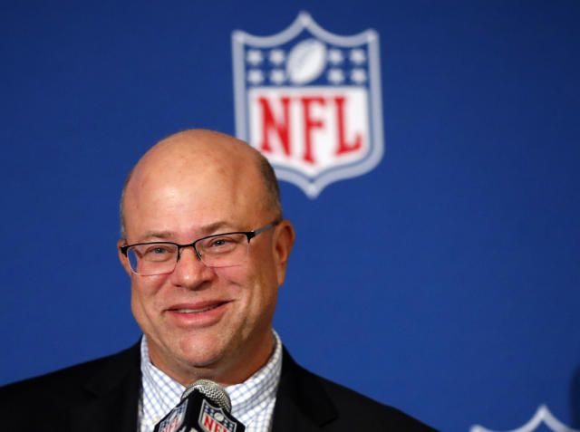 David Tepper smiles as he speaks to the media during a news conference where he was introduced as the new owner of the Carolina Panthers at the NFL owners spring meeting Tuesday, May 22, 2018, in Atlanta. (AP Photo/John Bazemore)