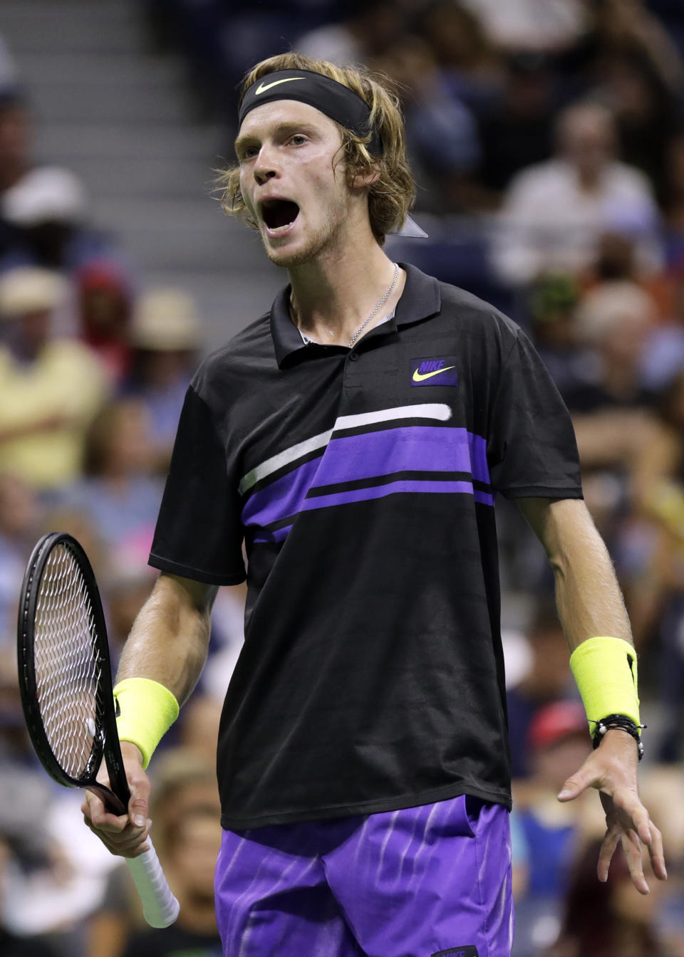 Andrey Rublev, of Russia, reacts against Nick Kyrgios, of Australia, during the third round of the U.S. Open tennis tournament Saturday, Aug. 31, 2019, in New York. (AP Photo/Adam Hunger)