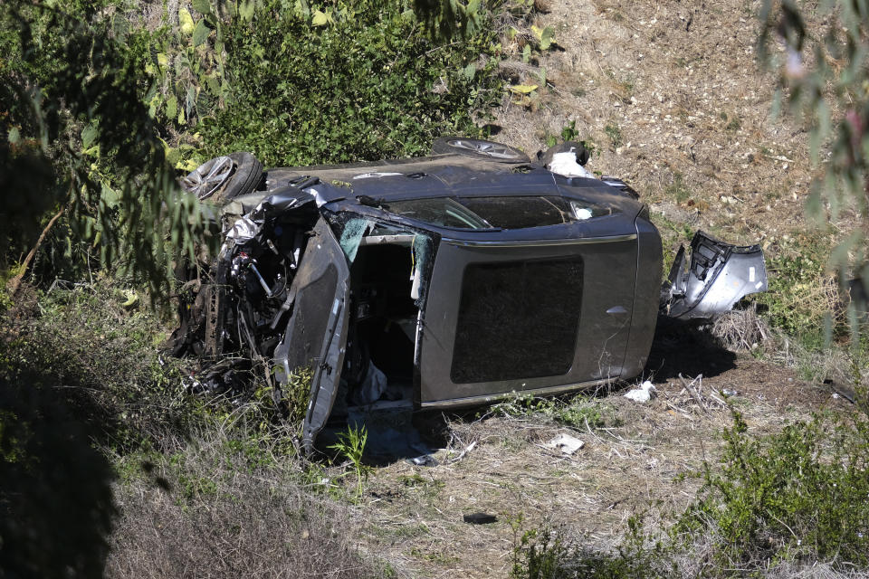 Tiger Woods' crashed car in Southern California on Feb. 23, 2021
