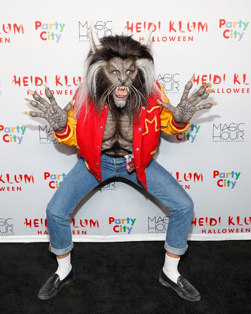 """Heidi Klum attends Heidi Klum's 18th annual Halloween Party as the werewolf from Michael Jackson's """"Thriller,"""" presented by Party City at the Magic Hour Rooftop Bar & Lounge on October 31, 2017 in New York City. Photo courtesy of Getty Images."""