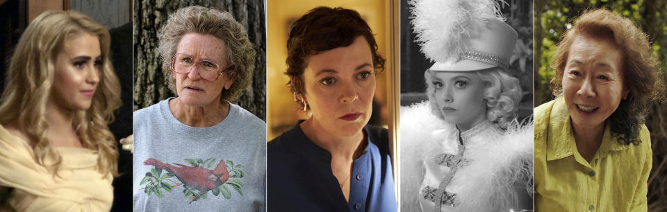"This combination photo shows Oscar nominees for best supporting actress, from left, Maria Bakalova in ""Borat Subsequent Moviefilm,"" Glenn Close in ""Hillbilly Elegy,"" Olivia Colman in ""The Father,"" Amanda Seyfried in ""Mank,"" and Yuh-Jung Youn in ""Minari."" (Amazon Studios/Netflix/Sony Pictures Classics/Netflix and A24 via AP)"