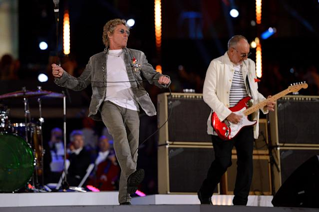 NOW: Roger Daltrey (L) and Pete Townshend of The Who perform during the Closing Ceremony on Day 16 of the London 2012 Olympic Games at Olympic Stadium on August 12, 2012 in London, England. (Photo by Jeff J Mitchell/Getty Images)