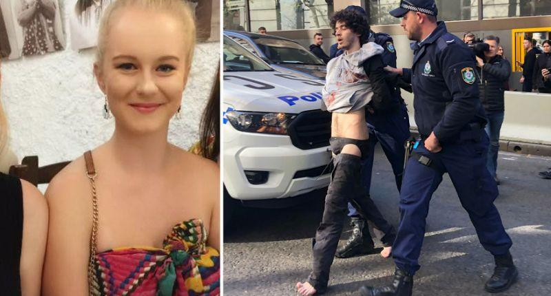 Michaela Dunn, 24. Mert Ney being arrested by police after the stabbing rampage in Sydney CBD. Source: AAP