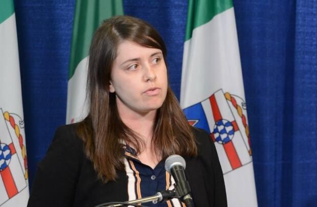 'We see safe supply as having a wider reach in preventing overdoses in the Yukon,' said Bronte Renwick-Shields, seen here at a news conference last week about Yukon's opioid crisis. (Philippe Morin - image credit)