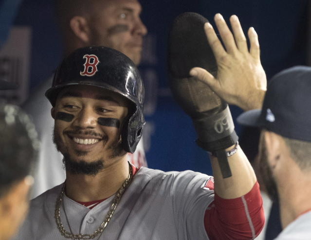 Boston Red Sox's Mookie Betts is putting up amazing numbers despite actually being unlucky. (Fred Thornhill/The Canadian Press via AP)
