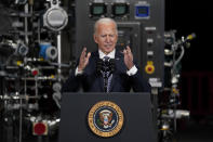 FILE - In this Feb. 19, 2021, file photo President Joe Biden speaks after a tour of a Pfizer manufacturing site in Portage, Mich. (AP Photo/Evan Vucci, File)