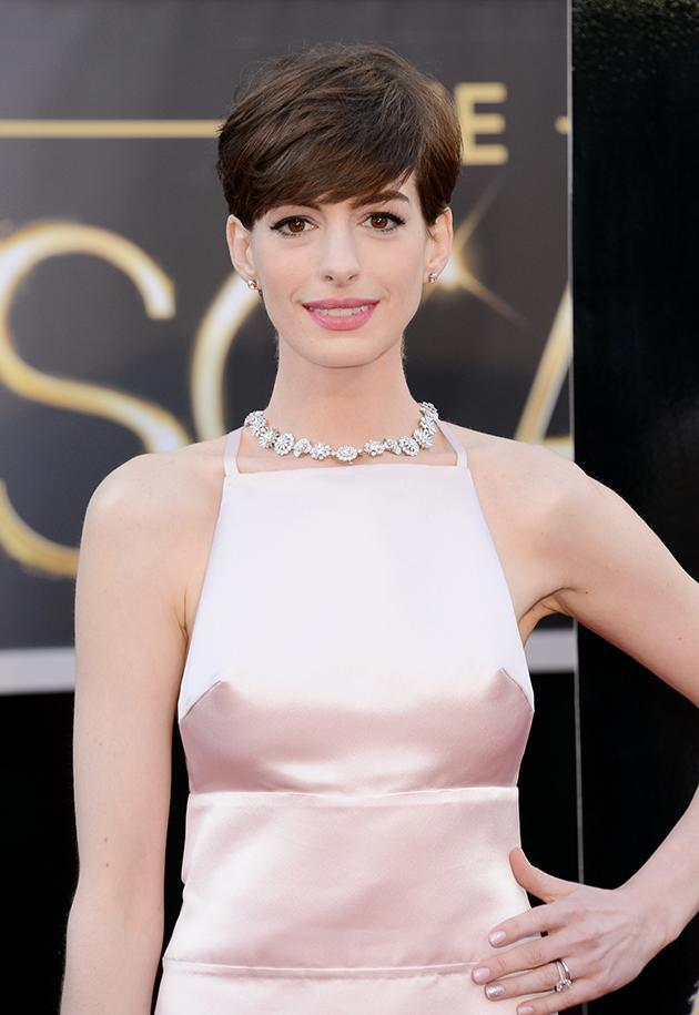 Anne Hathaway's nipples could clearly be seen through her Oscars 2013 dress. Copyright [Getty]