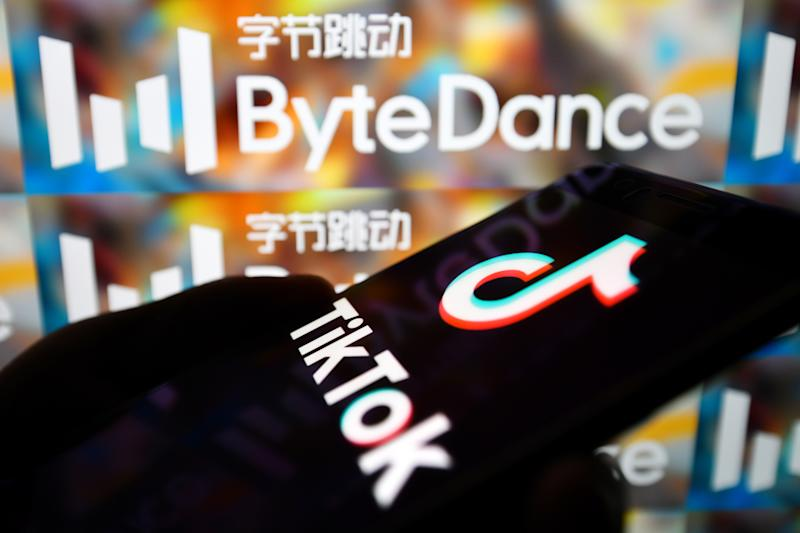 In this photo illustration a TikTok logo is seen displayed on a smartphone with a ByteDance logo on the background. Photo: Sheldon Cooper/SOPA Images/LightRocket via Getty Images