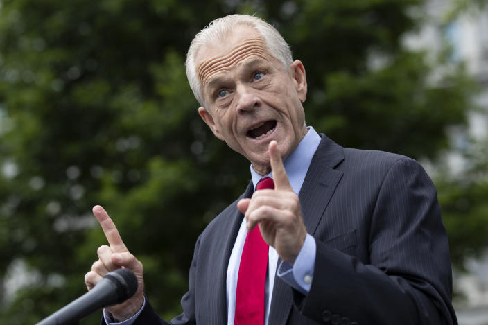 FILE - In this June 18, 2020, file photo White House trade adviser Peter Navarro speaks with reporters at the White House in Washington. (AP Photo/Alex Brandon, File)