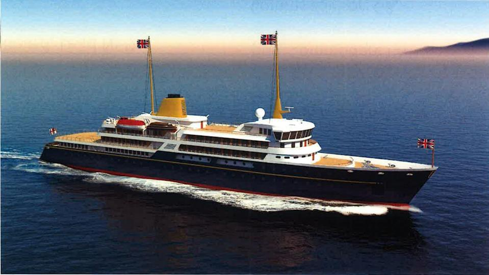 An artist's impression of a new national flagship, the successor to the Royal Yacht Britannia, which Prime Minister Boris Johnson has said will promote British trade and industry around the world (Downing Street/PA) (PA Media)