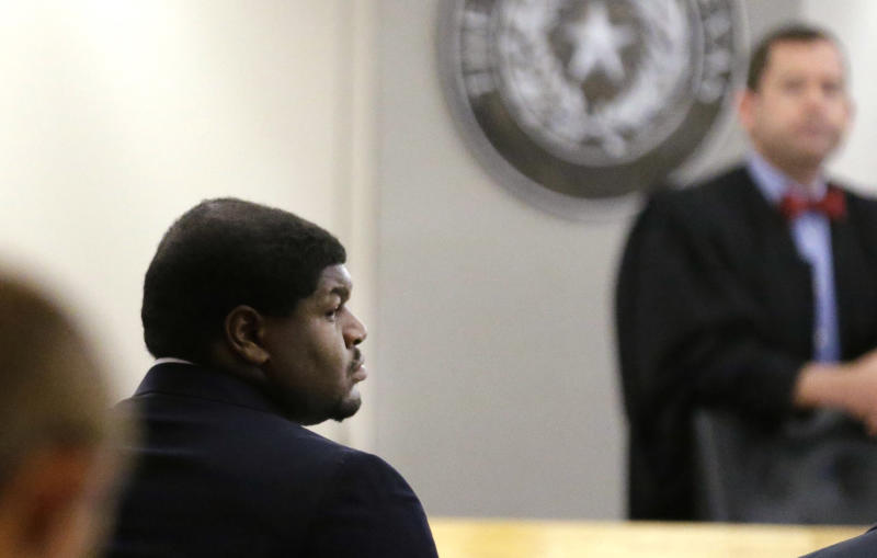 Former Dallas Cowboy Josh Brent appears in court during his trial for intoxication manslaughter Wednesday, Jan. 15, 2014, in Dallas. Brent is accused of driving drunk at the time of a December 2012 crash that killed Cowboys practice squad player Jerry Brown. (AP Photo/LM Otero)