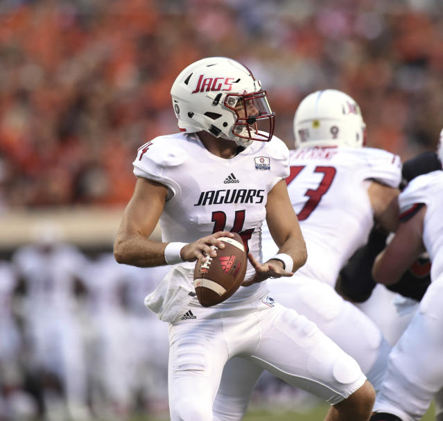 South Alabama quarterback Evan Orth looks for an open teammate during the first half of an NCAA college football game against Oklahoma State in Stillwater, Okla., Saturday, Sept. 8, 2018. (AP Photo/Brody Schmidt)