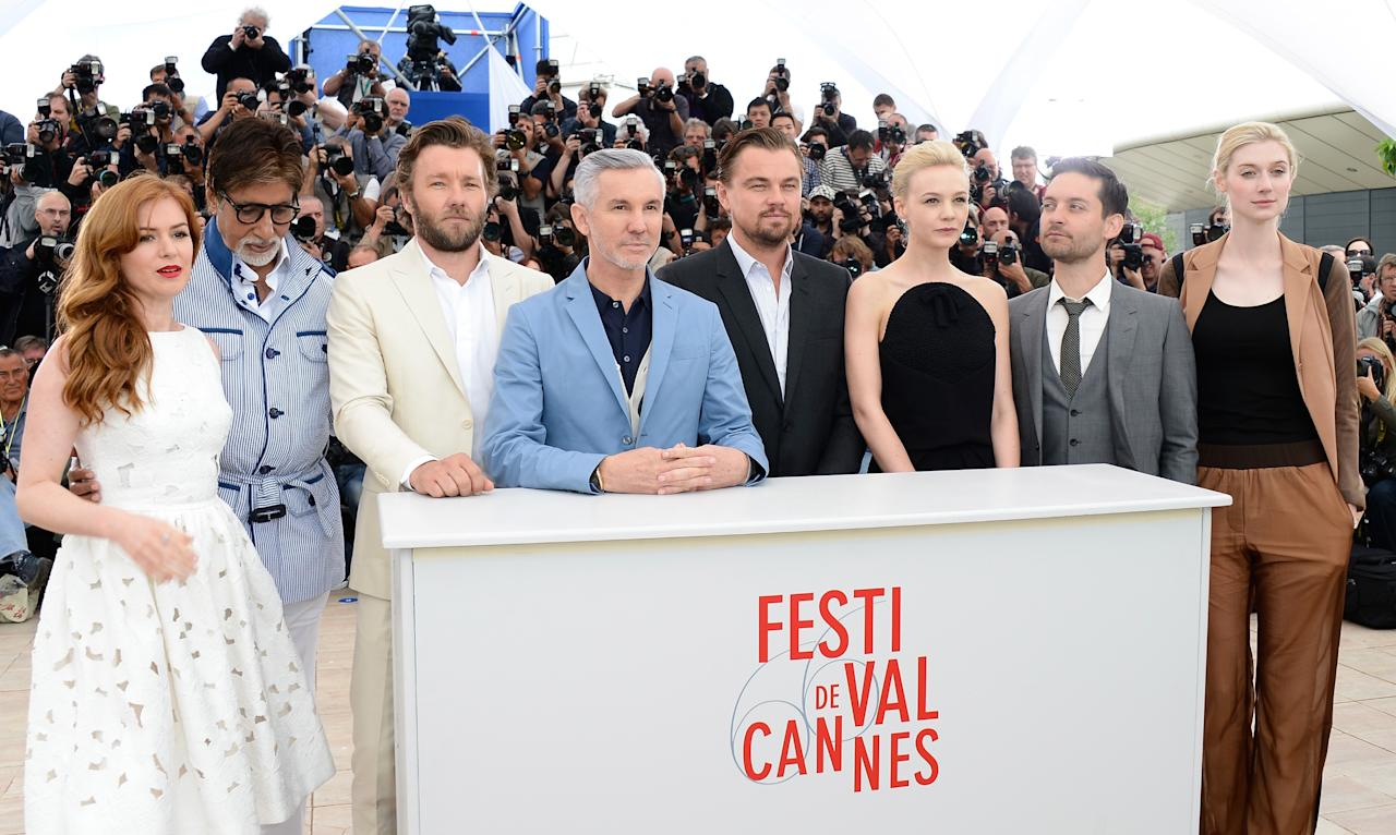 CANNES, FRANCE - MAY 15:  (L-R)  Actors Isla Fisher, Amitabh Bachchan, Joel Edgerton, Director Baz Luhrmann, Leonardo DiCaprio, Carey Mulligan,  Tobey Maguire and Elizabeth Debicki attend 'The Great Gatsby' photocall during the 66th Annual Cannes Film Festival at the Palais des Festivals on May 15, 2013 in Cannes, France.  (Photo by Pascal Le Segretain/Getty Images)