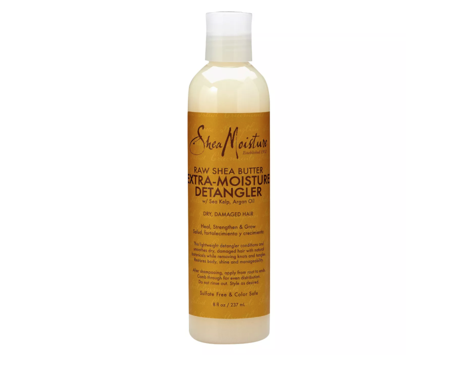 "<p><strong>SheaMoisture</strong></p><p>target.com</p><p><strong>$11.99</strong></p><p><a href=""https://www.target.com/p/sheamoisture-raw-shea-butter-extra-moisture-detangler-8-fl-oz/-/A-14319219"" rel=""nofollow noopener"" target=""_blank"" data-ylk=""slk:Shop Now"" class=""link rapid-noclick-resp"">Shop Now</a></p><p>Shea butter is famous for its moisturizing properties. But when mixed in with sea kelp and argan oil, you get an awesome detangling cream that will condition hair while also sealing the cuticles to prevent damage. </p>"