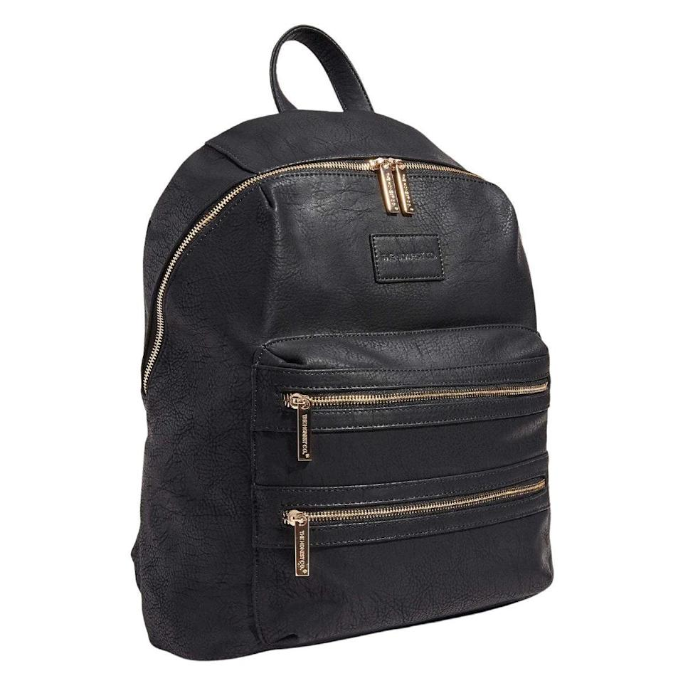 """I love the Honest Vegan Leather Diaper Bag. It has separate compartments, which are the best part because you can put snacks in one area, diapers in one area, and a change of clothes or dirty clothes in another. There's also a changing pad in there, so you don't have to put the babes on gross surfaces. —<em>Alexandra McCormick, publicist and mom of one</em> $150, Honest. <a href=""""https://www.honest.com/gear/bags/honest%E2%84%A2%EF%B8%8F-city-backpack/vegan-leather-backpack.html"""" rel=""""nofollow noopener"""" target=""""_blank"""" data-ylk=""""slk:Get it now!"""" class=""""link rapid-noclick-resp"""">Get it now!</a>"""