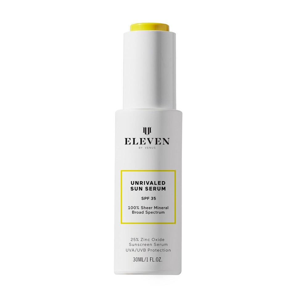 """<p><strong>EleVen by Venus Williams</strong></p><p>credobeauty.com</p><p><strong>$50.00</strong></p><p><a href=""""https://go.redirectingat.com?id=74968X1596630&url=https%3A%2F%2Fcredobeauty.com%2Fproducts%2Funrivaled-sun-serum-spf-35&sref=https%3A%2F%2Fwww.harpersbazaar.com%2Fbeauty%2Fskin-care%2Fg33474309%2Fbest-sunscreen-for-black-people%2F"""" rel=""""nofollow noopener"""" target=""""_blank"""" data-ylk=""""slk:Shop Now"""" class=""""link rapid-noclick-resp"""">Shop Now</a></p><p>Created by Venus Williams, this fragrance-free sunscreen serum is made with 25% zinc oxide yet still applies sheer on all skin tones. Added naturally-derived skin soothers like prickly pear makes it a dream to wear every day.</p>"""