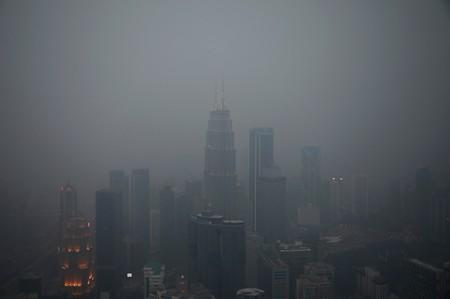 A view of the city skyline shrouded by haze in Kuala Lumpur