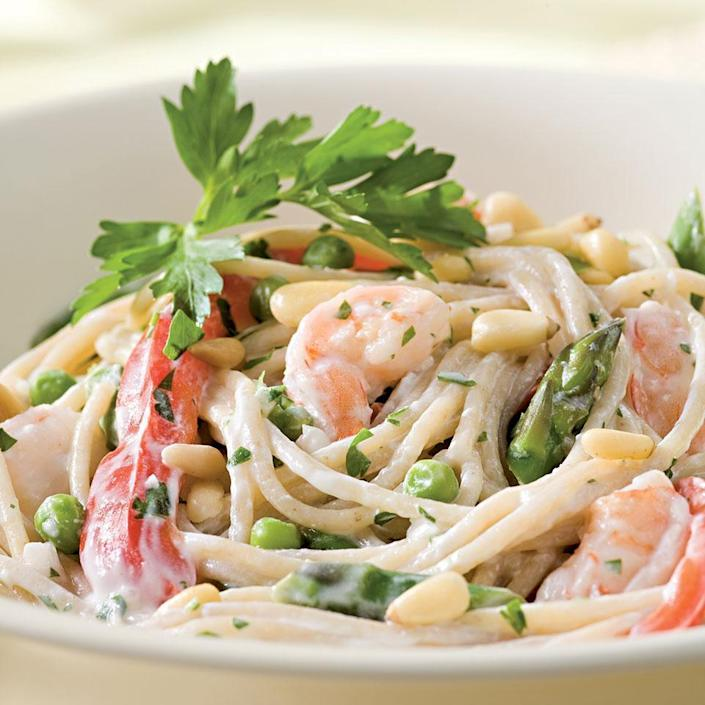 <p>Toss a garlicky, Middle Eastern-inspired yogurt sauce with pasta, shrimp, asparagus, peas and red bell pepper for a fresh, satisfying summer meal. Serve with: Slices of cucumber and tomato tossed with lemon juice and olive oil.</p>