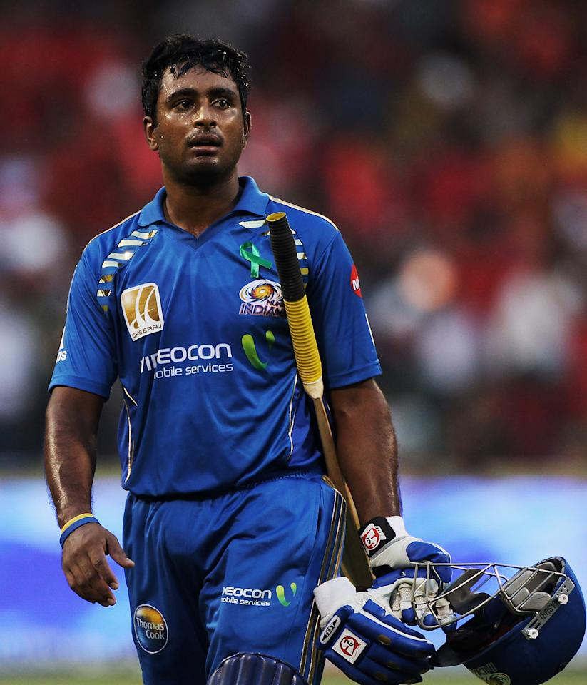 BANGALORE, INDIA - APRIL 17: Ambati Rayudu of the Indians walks off after being dismissed during the 2010 DLF Indian Premier League T20 group stage match between Royal Challengers Bangalore and Mumbai Indians played at Chinnaswamy Stadium on April 17, 2010 in Bangalore, India.  (Photo by Daniel Berehulak-IPL 2010/IPL via Getty Images)