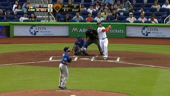 Giancarlo Stanton breaks home run drought with tape-measure shot over previously damaged scoreboard