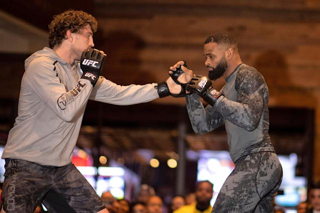 UFC welterweight champion Tyron Woodley and former Bellator and ONE welterweight champion Ben Askren have been training together since college. (Getty Images)