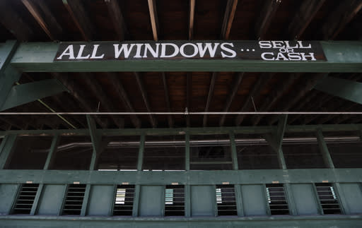 A betting window sits empty at Churchill Downs, Wednesday, April 22, 2020, in Louisville, Ky. (AP Photo/Darron Cummings)