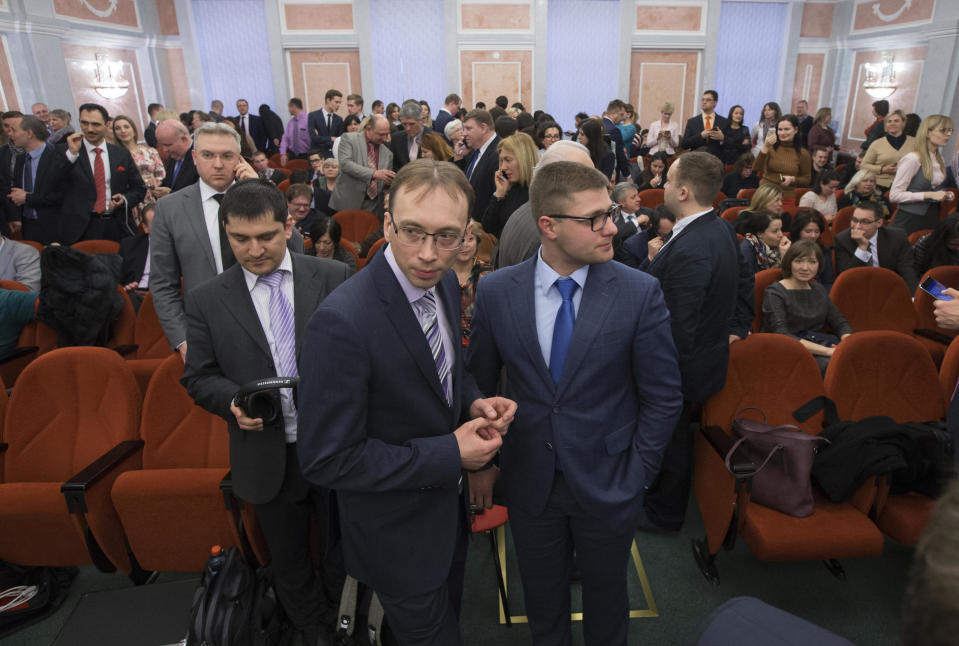 Members of Jehovah's Witnesses will be waiting for them on April 20, 2017 in a courtroom in Moscow, Russia.  / Credit: Ivan Sekretarev / AP
