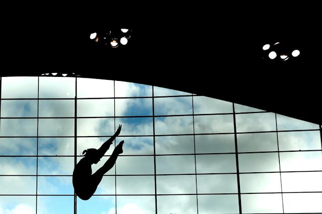 LONDON, ENGLAND - APRIL 27: A competitor in action during training on day three of the FINA/NVC Diving World Series at the London Aquatics Centre on April 26, 2014 in London, England. (Photo by Clive Rose/Getty Images)