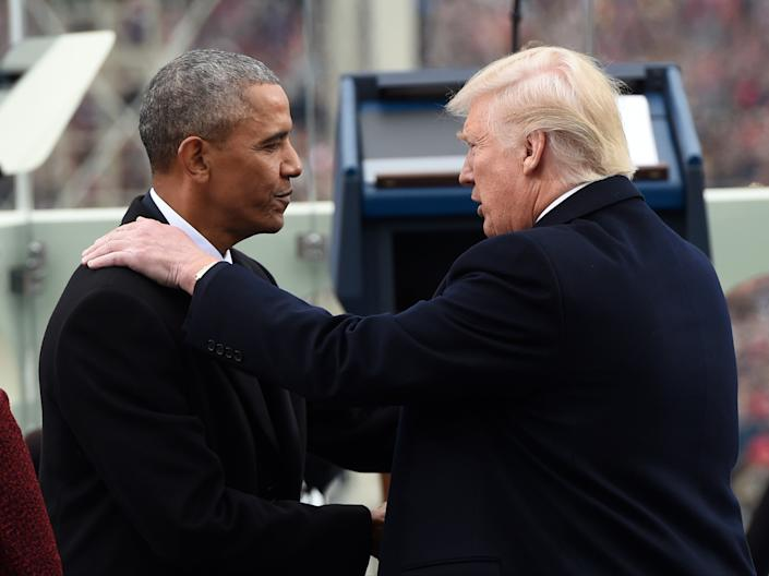 <p>President Barack Obama shake hands with President-elect Donald Trump during the Presidential Inauguration at the US Capitol on January 20, 2017.</p> (Getty Images)