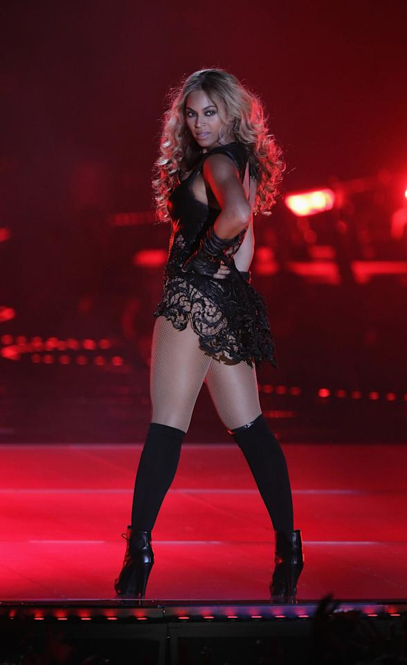 """<p>Beyoncé literally shut it down at <a href=""""https://www.popsugar.com/fashion/Beyonce-Super-Bowl-Outfit-Pictures-27241981"""" class=""""ga-track"""" data-ga-category=""""Related"""" data-ga-label=""""http://www.popsugar.com/fashion/Beyonce-Super-Bowl-Outfit-Pictures-27241981"""" data-ga-action=""""In-Line Links"""">the Super Bowl halftime show</a> when she performed in New Orleans. She wore a leather bodysuit by Rubin Singer, which came with matching slouchy gloves and was contrasted by a feminine Chantilly lace skirt, attached at the bodice. The singer completed her outfit with knee socks and Proenza Schouler booties.</p>"""