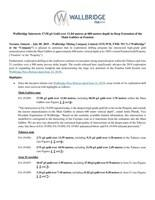 Wallbridge Intersects 17.58 g/t Gold over 11.04 metres at 600 metres depth in Deep Extension of the Main Gabbro at Fenelon (CNW Group/Wallbridge Mining Company Limited)