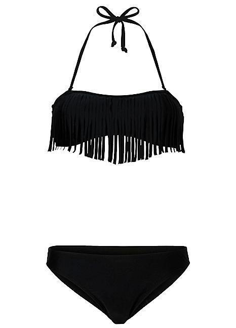 """<p>Put your best fringe forward with this flirty two piece. <br></p><p>Buy now <a href=""""http://www.swimwear365.co.uk/products/bodyflirt-black-fringed-bandeau-bikini/_/A-976332_8?cs_ev=upSell-_-personalisedSearch-_-listPosition17-_-BODYFLIRTBlackFringedBandeauBikini-_-bikini"""" rel=""""nofollow noopener"""" target=""""_blank"""" data-ylk=""""slk:here."""" class=""""link rapid-noclick-resp"""">here. <br></a></p>"""