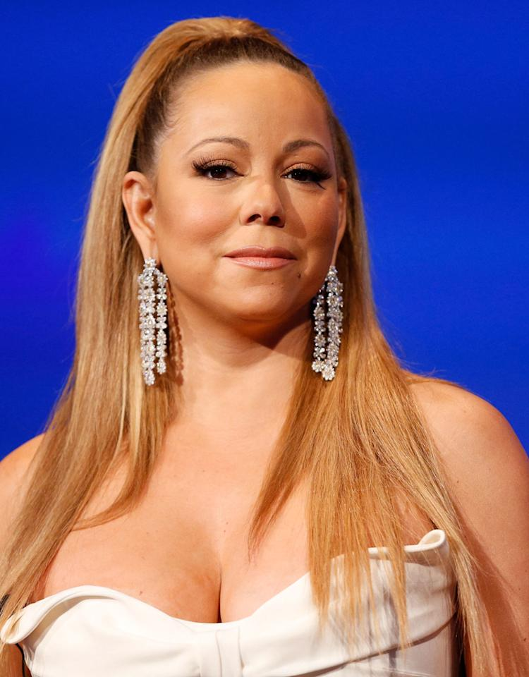 WESTWOOD, CA - JANUARY 09:  Singer Mariah Carey speaks during a live Q&A during the season premiere screening of Fox's 'American Idol' at Royce Hall, UCLA on January 9, 2013 in Westwood, California.  (Photo by Imeh Akpanudosen/Getty Images)