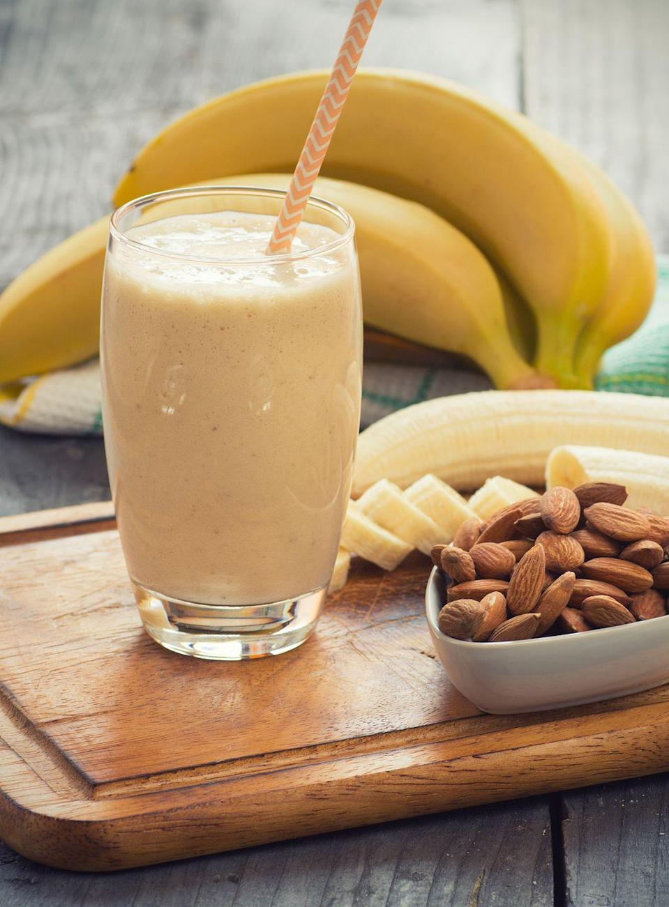 "<p>""This creamy smoothie provides a balanced combination of all the major nutrients [your body needs to lose weight],"" D'Orazio says. ""The Greek yogurt provides protein, banana contributes healthy carbs and fiber, and you'll receive a dose of healthy fat from the almond butter. You'll surely feel satisfied and full!""<br></p><p><em>Get the recipe at <a href=""https://www.foodnetwork.com/recipes/giada-de-laurentiis/banana-and-walnut-smoothie-2354968"" rel=""nofollow noopener"" target=""_blank"" data-ylk=""slk:Food Network."" class=""link rapid-noclick-resp"">Food Network.</a></em></p>"