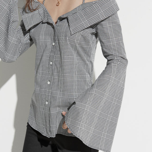 A houndstooth off-the-shoulder blouse from Kohl's k/lab line. (Photo: Courtesy of Kohl's)