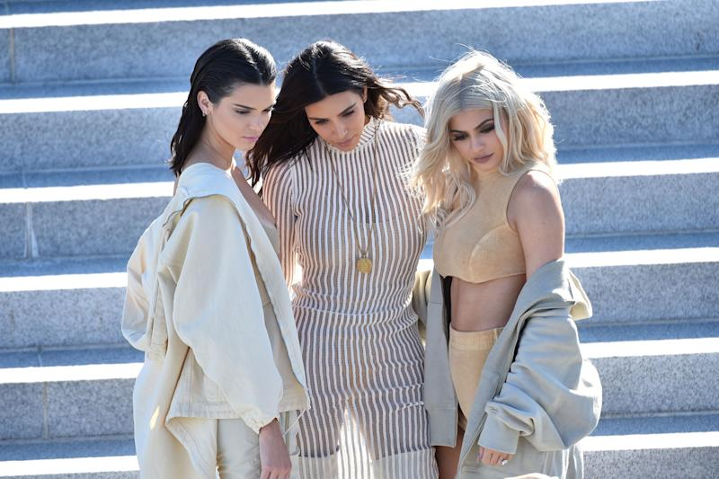 (L-R) Kendall Jenner, Kim Kardashian, Kylie Jenner. Photo: Getty