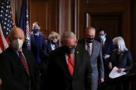 Senate Majority Leader Chuck Schumer (D-NY) arrives to deliver remarks with Senate committee chairs in Washington