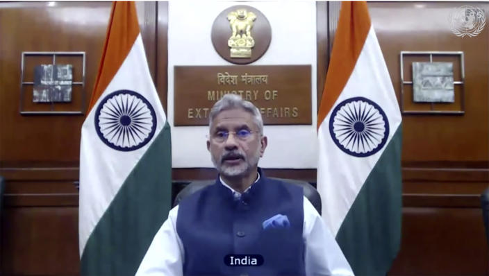 In this image made from UNTV video, India's Foreign Minister Subrahmanyam Jaishankar speaks during a U.N. Security Council high-level meeting on COVID-19 recovery focusing on vaccinations, chaired by British Foreign Secretary Dominc Raab, Wednesday, Feb. 17, 2021, at UN headquarters, in New York. (UNTV via AP)