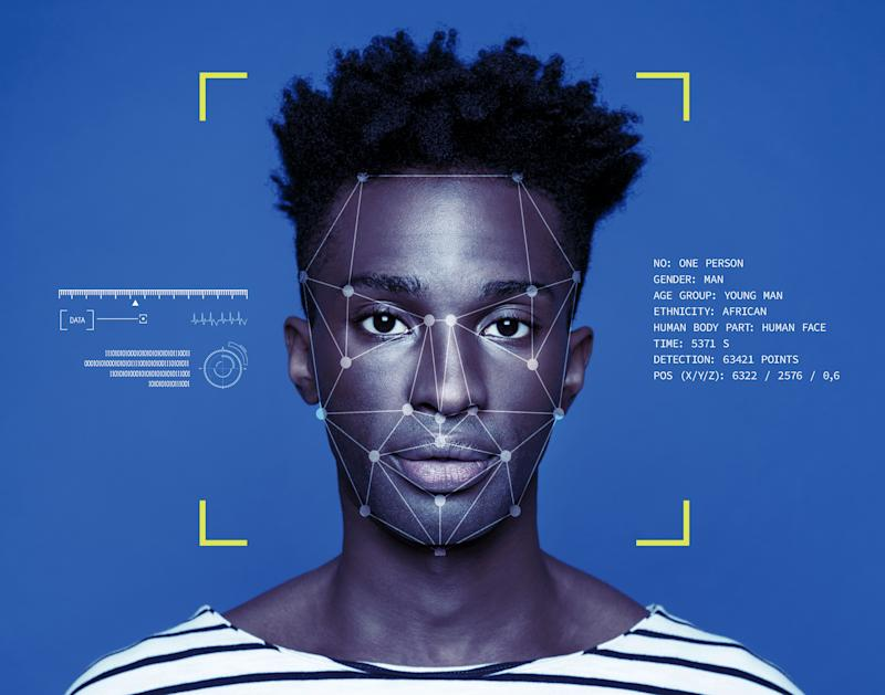 Facial Recognition System, Concept Images. Portrait of young man.