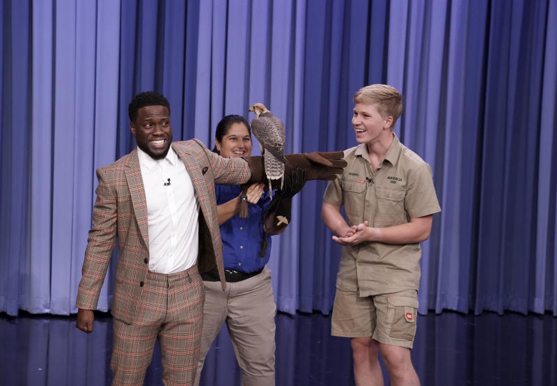 Robert Irwin freaks out Kevin Hart on Tonight With Jimmy Fallon. Source: Getty