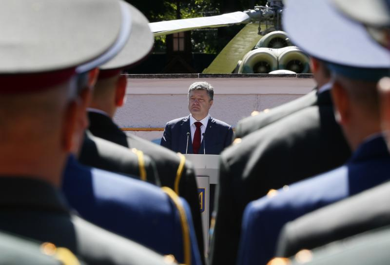 Ukrainian President Petro Poroshenko attends a graduation ceremony at the National University of Defense of Ukraine in Kiev