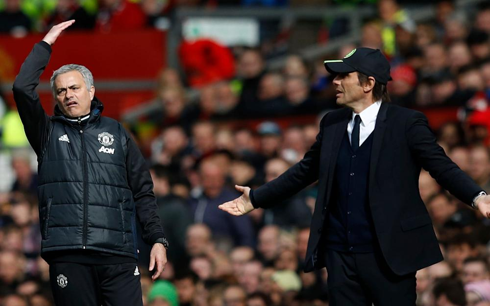 Manchester United manager Jose Mourinho and Chelsea manager Antonio Conte - Credit: REUTERS