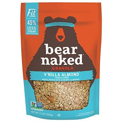 """<p><strong>Bear Naked</strong></p><p>amazon.com</p><p><a href=""""https://www.amazon.com/dp/B000CROPGG?tag=syn-yahoo-20&ascsubtag=%5Bartid%7C10055.g.34163028%5Bsrc%7Cyahoo-us"""" rel=""""nofollow noopener"""" target=""""_blank"""" data-ylk=""""slk:Shop Now"""" class=""""link rapid-noclick-resp"""">Shop Now</a></p><p>Bear Naked offers this Fit variety with <strong>45% less sugar than their leading granola. </strong>A great option for sugar-conscious folks, a generous half cup serving only has 6 grams of added sugar and packs in 5 grams of dietary fiber. It has a classic granola taste and texture as well.</p><p><strong>Nutrition Fac</strong><strong>ts (1/2 cup): </strong>210 cal, 5g total fat, 0.5g sat fat, 0g trans fat, 0mg cholesterol, 0mg sodium, 40g total carbohydrate, 5g dietary fiber, 7g total sugar, 6g added sugar, 6g protein</p>"""