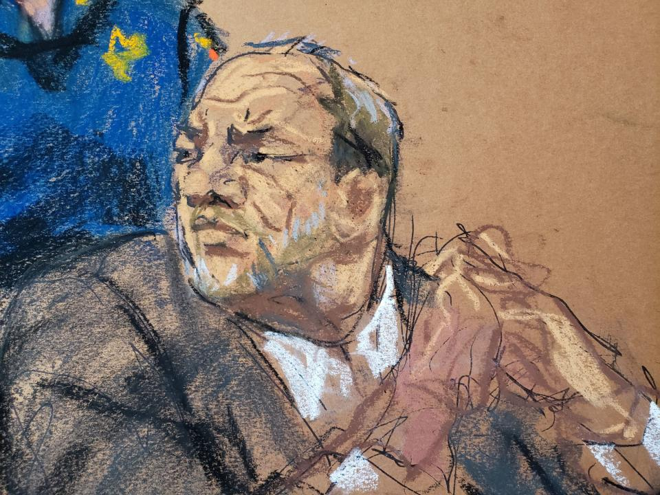 Courtroom artist Jane Rosenberg captured Harvey Weinstein as he listened to a statement from Jessica Mann during his sentencing, shortly before he received 23 years in prison. (Photo: REUTERS/Jane Rosenberg