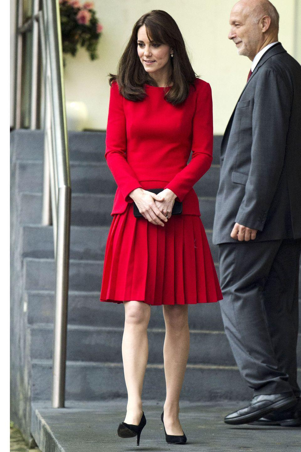 <p>The Duchess looked festive in red as she attended The Anna Freud Centre Family School Christmas Party in North London.</p>